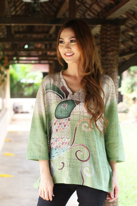 Artisan Crafted Cotton Tunic 'Peacock Love'