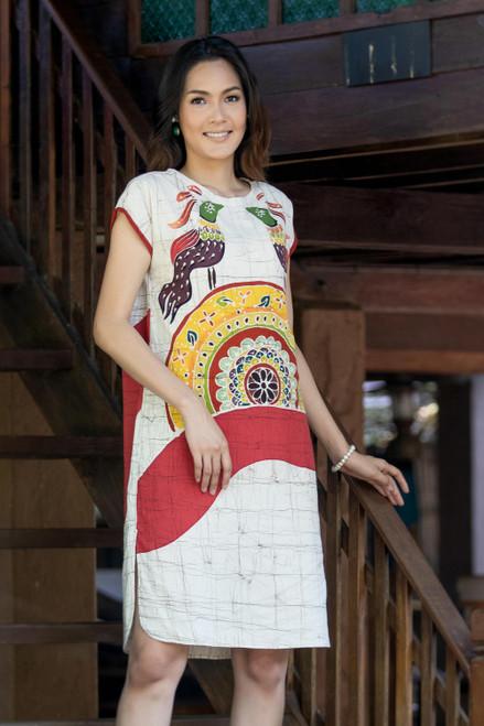 100 Cotton Thai Batik Short Sleeve Dress in Earth Tones 'Pheasant Singing'