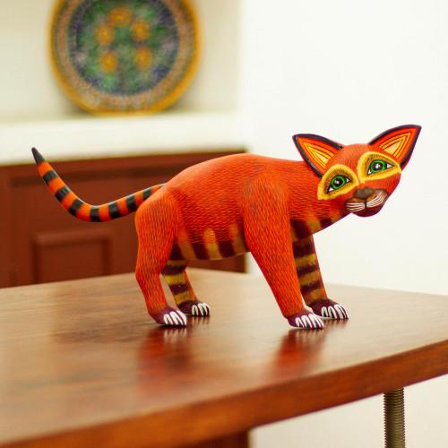 Mexican Alebrije Cat Sculpture 'Crafty Cat'