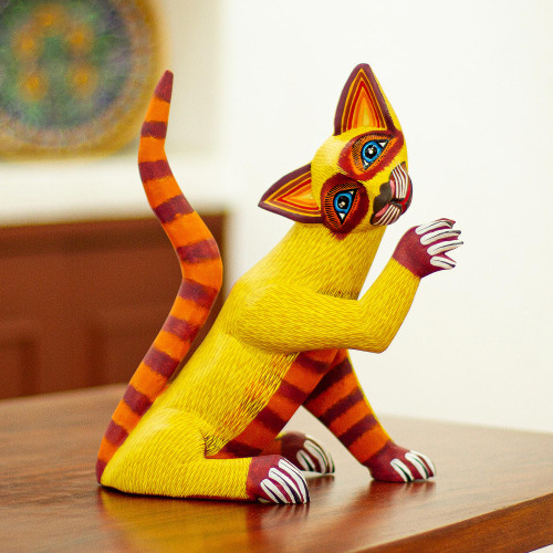 Hand-Painted Cat Alebrije 'Sly Siamese'