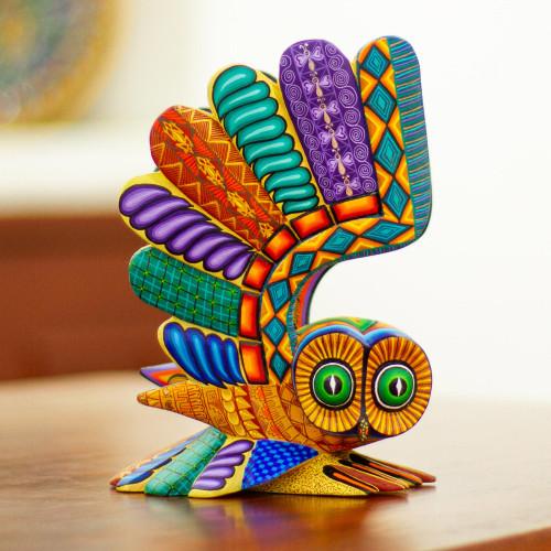 Multicolored Owl Alebrije 'Ocotlan Owl'