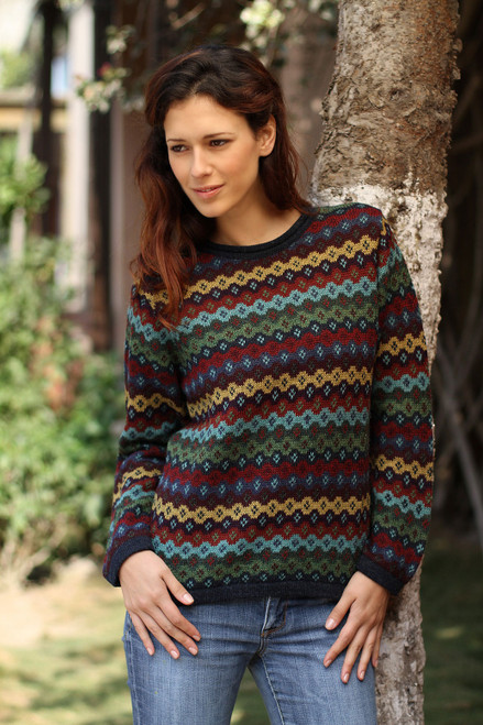 Alpaca Wool Striped Pullover Sweater 'Spring Medley'