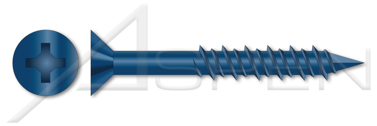 Blue 3//16 X 1-1//4-Inch Metallics Fasteners CSH1F Indented Slotted Hex Washer Concrete Screw