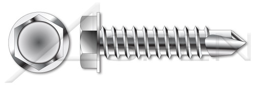 """3/8""""-12 X 3/4"""" Self-Drilling Screws, Hex Indented Washer Head, AISI 304 Stainless Steel (18-8)"""