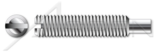 M3-0.5 X 5mm DIN 417 / ISO 7435, Metric, Slotted Set Screws, Long Dog Point, Full Thread, A2 Stainless Steel