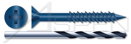 "3/16"" X 1-1/4"" Concrete Screws, Flat Phillips Drive, Steel, Blue Ruspert Ceramic Coating, Includes Drill Bit"