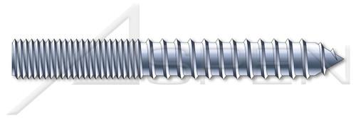 """#6-32 X 1"""" Hanger Bolts, Full Thread, Steel, Zinc Plated"""
