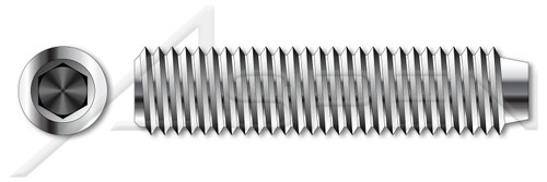 """#0-80 X 3/32"""" Hex Socket Set Screws, Cup Point, Full Thread, AISI 304 Stainless Steel (18-8)"""