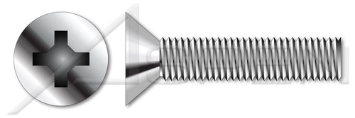 M5-0.8 X 6mm DIN 965 / ISO 7046, Metric, Machine Screws, Flat Phillips Drive, Full Thread, A2 Stainless Steel