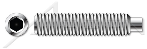 M4-0.7 X 30mm DIN 915 / ISO 4028, Metric, Hex Socket Set Screws, Dog Point, A2 Stainless Steel