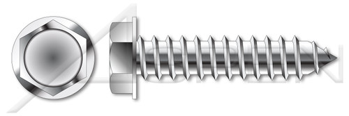 """3/8""""-12 X 1"""" Self-Tapping Sheet Metal Screws, Type """"AB"""", Hex Indented Washer Head, AISI 304 Stainless Steel (18-8)"""