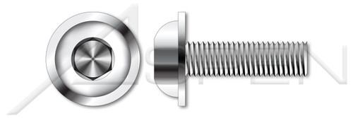 """5/16""""-18 X 5/8"""" Flanged Button Head Hex Socket Cap Screws, Full Thread, AISI 304 Stainless Steel (18-8)"""