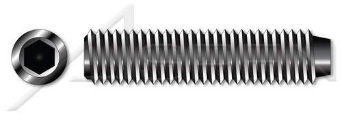 """#0-80 X 1/8"""" Hex Socket Set Screws, Cup Point, Alloy Steel, Plain, Unbrako"""