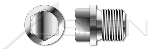 """1/4""""-19 X 21mm DIN 910, Metric, Pipe Plugs, Hex Head, Straight Thread, A2 Stainless Steel"""