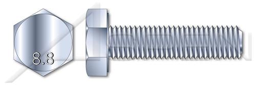 M6-1.0 X 25mm DIN 933 / ISO 4017, Metric, Hex Head Cap Screws Bolts, Full Thread, Class 8.8 Steel, Zinc Plated