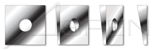 """1/2"""" Square Beveled Malleable Levelling Washers, AISI 304 Stainless Steel (18-8)"""