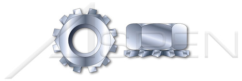 "#4-40, THK=3/32"", A/F=1/4"" Hex K Lock Keps Nuts, Steel, Zinc Plated"