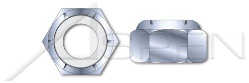 #3-48 Hex Nylon Insert Stop Lock Nuts, NM and NE Series, Steel, Zinc Plated