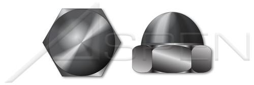 #6-32 Acorn Cap Dome Nuts, Closed End, Low Crown, Steel, Black Zinc