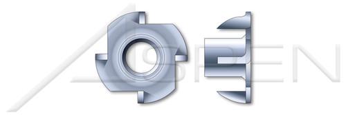 "#6-32 X 1/4"", OD=1/2"" T-Nuts, 4 Prongs, Steel, Zinc Plated"