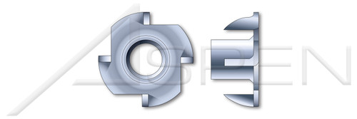 "#8-32 X 1/4"", OD=19/32"" T-Nuts, 4 Prongs, Steel, Zinc Plated"
