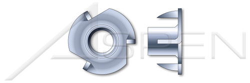 "#6-32 X 1/4"", OD=1/2"" T-Nuts, 3 Prongs, Steel, Zinc Plated"