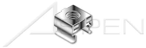 """1/4""""-20, Panel Range=0.025""""-0.063"""" Cage Nuts, AISI 304 Stainless Steel (18-8)"""