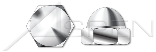 #6-32 Acorn Cap Dome Nuts, Closed End, Low Crown, AISI 304 Stainless Steel (18-8)