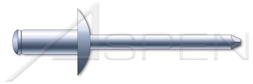 """3/32"""", Grip=0.03""""-0.12"""" Blind Rivets, Steel Body / Steel Pin, Dome Head"""