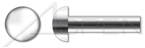 """1/8"""" X 1/4"""" Solid Rivets, Round Head, AISI 304 Stainless Steel (18-8)"""