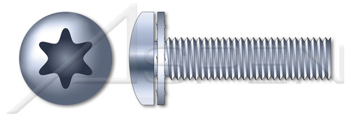 """#2-56 X 1/4"""" Internal Tooth Washer SEMS Machine Screws, Pan 6Lobe Torx(r) Drive, Steel, Zinc Plated and Baked"""