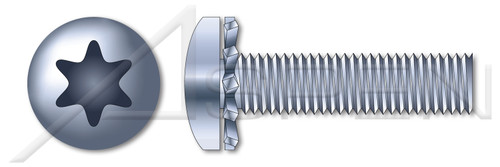 """#2-56 X 1/4"""" External Tooth Washer SEMS Machine Screws, Pan 6Lobe Torx(r) Drive, Steel, Zinc Plated and Baked"""