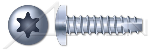 "#2-32 X 3/8"" Thread-Cutting Screws, Type ""25"", Pan 6Lobe Torx(r) Drive, Steel, Zinc Plated and Baked"