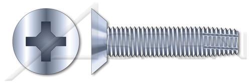 """#2-56 X 1/4"""" Thread-Cutting Screws, Type """"F"""", Flat Undercut Phillips Drive, Steel, Zinc Plated"""