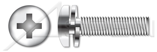 """#2-56 X 3/16"""" SEMS Split Lock Washer Machine Screws, Pan Phillips Drive, AISI 304 Stainless Steel (18-8), Washer Material 410 Stainless Steel"""