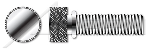 """#4-40 X 7/16"""" Thumb Screws, Knurled Head with Shoulder, Stainless Steel"""