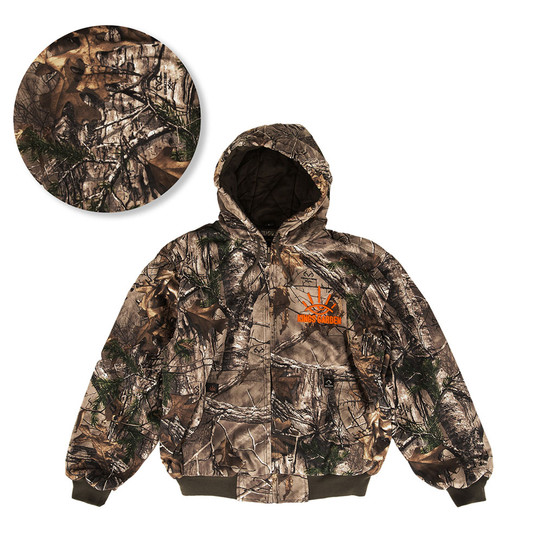 Heavy weight jacket with camouflage pattern and neon orange embroidery
