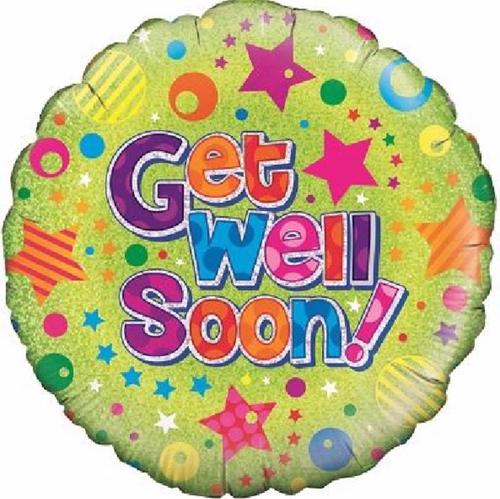 Get Well Soon Dots & Stars 18 Inch Foil Balloon