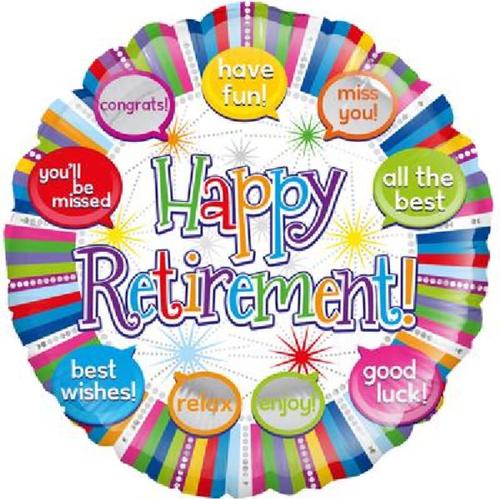 Happy Retirement Speech Bubble 18 Inch Foil Balloon