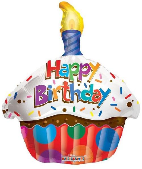 Happy Birthday Cupcake 18 Inch Foil Balloon