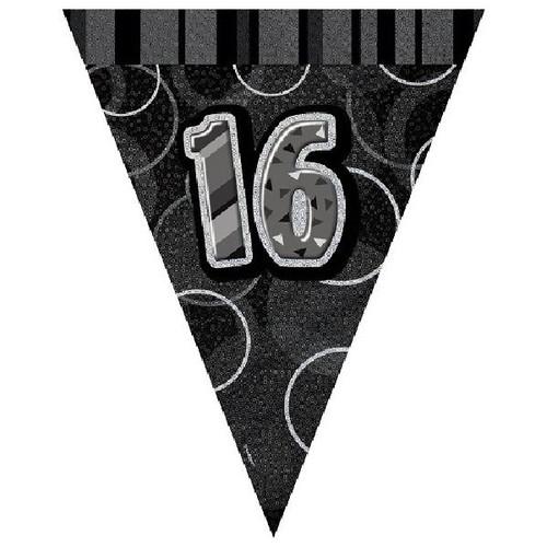 16th Birthday Black Glitz 3.6M Flag Banner