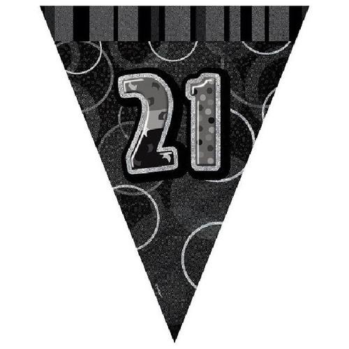 21st Birthday Black Glitz 3.6M Flag Banner