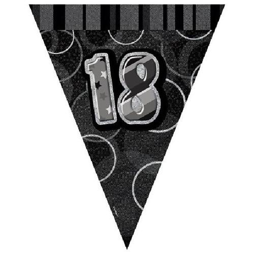 18th Birthday Black Glitz 3.6M Flag Banner