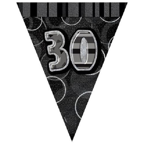 30th Birthday Black Glitz 3.6M Flag Banner