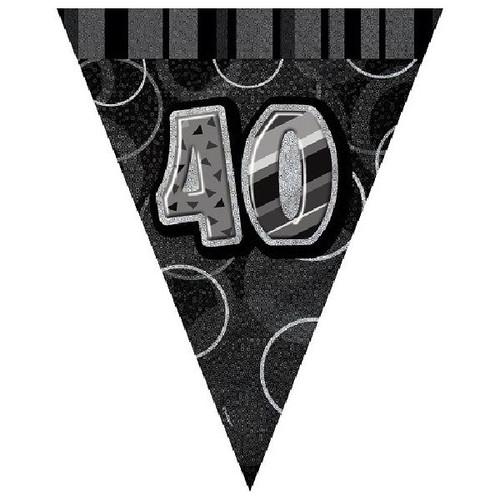 40th Birthday Black Glitz 3.6M Flag Banner