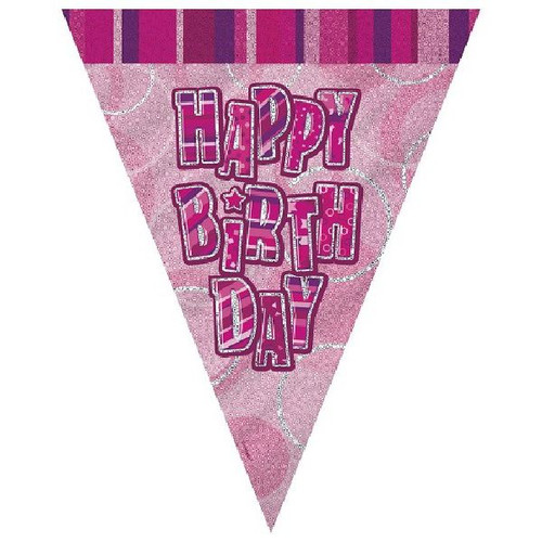 Happy Birthday Pink Glitz 3.6M Flag Banner