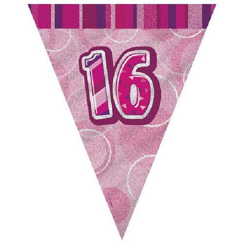 16th Birthday Pink Glitz 3.6M Flag Banner