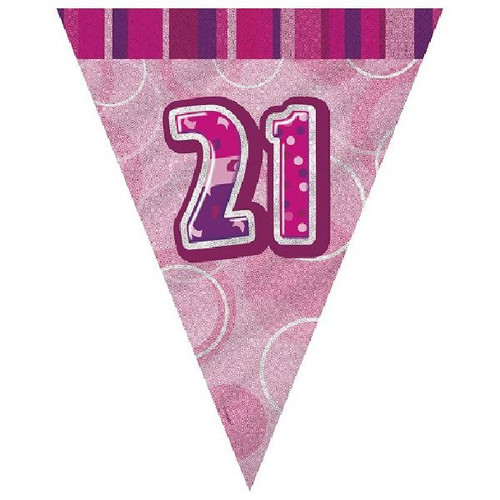 21st Birthday Pink Glitz 3.6M Flag Banner