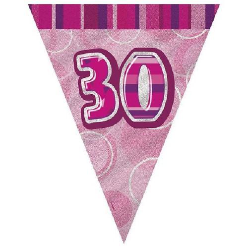 30th Birthday Pink Glitz 3.6M Flag Banner