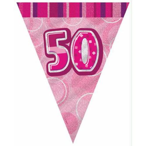 50th Birthday Pink Glitz 3.6M Flag Banner